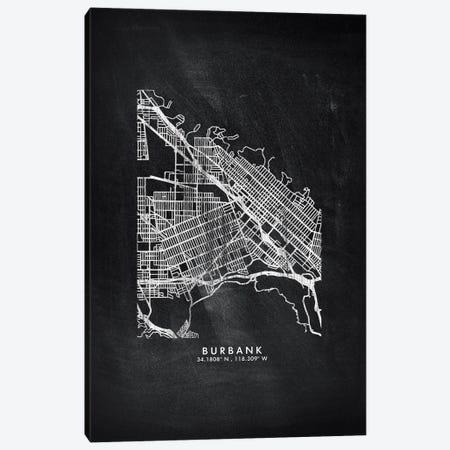Burbank City Map Chalkboard Style Canvas Print #WDA2134} by WallDecorAddict Art Print