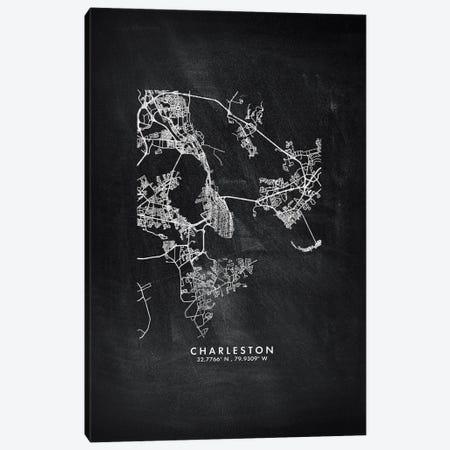 Charleston City Map Chalkboard Style Canvas Print #WDA2135} by WallDecorAddict Art Print