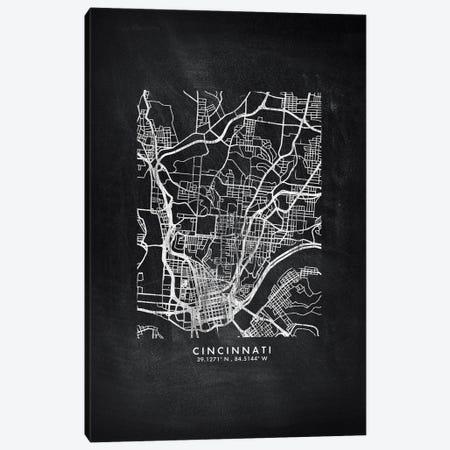 Cincinnati City Map Chalkboard Style Canvas Print #WDA2139} by WallDecorAddict Canvas Art