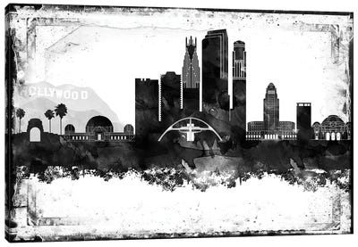 Los Angeles Black And White Framed Skylines Canvas Art Print