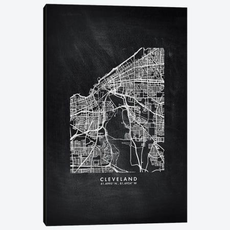 Cleveland City Map Chalkboard Style Canvas Print #WDA2140} by WallDecorAddict Art Print