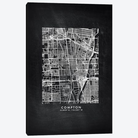 Compton City Map Chalkboard Style Canvas Print #WDA2144} by WallDecorAddict Canvas Artwork