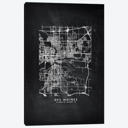 Des Moines City Map Chalkboard Style Canvas Print #WDA2147} by WallDecorAddict Canvas Artwork