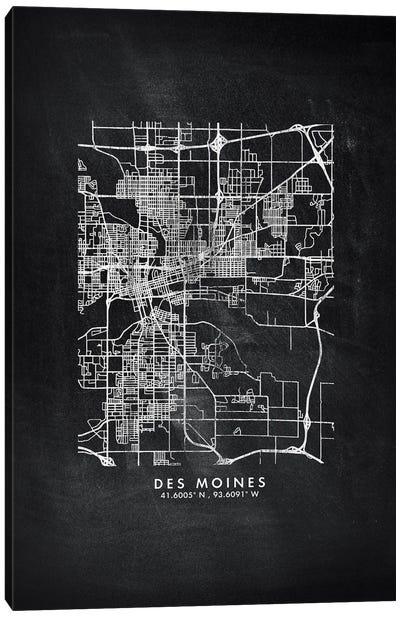 Des Moines City Map Chalkboard Style Canvas Art Print