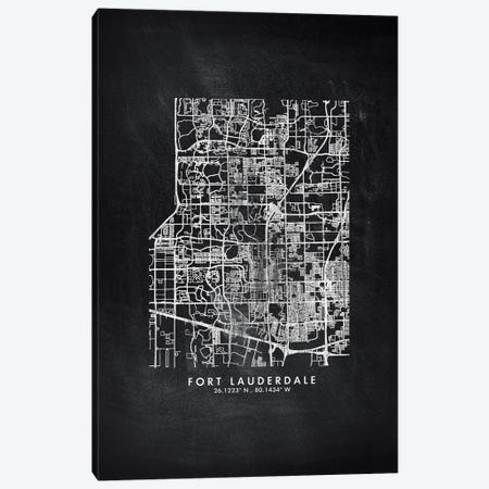 Fort Lauderdale City Map Chalkboard Style Canvas Print #WDA2149} by WallDecorAddict Canvas Art Print