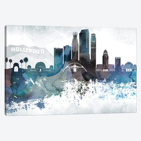 Los Angeles Bluish Skylines Canvas Print #WDA214} by WallDecorAddict Art Print