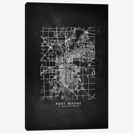 Fort Wayne City Map Chalkboard Style Canvas Print #WDA2150} by WallDecorAddict Canvas Art