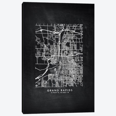 Grand Rapids City Map Chalkboard Style Canvas Print #WDA2154} by WallDecorAddict Canvas Print