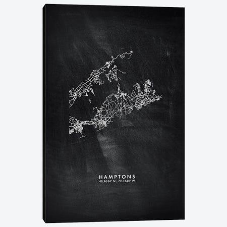 Hamptons City Map Chalkboard Style Canvas Print #WDA2156} by WallDecorAddict Canvas Art Print