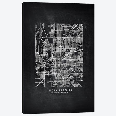 Indianapolis City Map Chalkboard Style Canvas Print #WDA2159} by WallDecorAddict Canvas Wall Art
