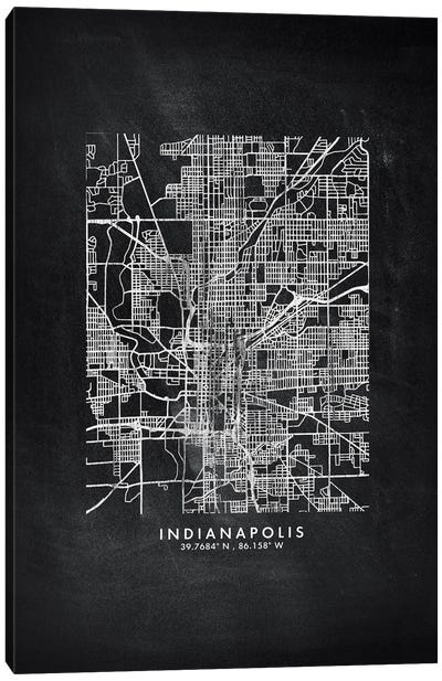 Indianapolis City Map Chalkboard Style Canvas Art Print
