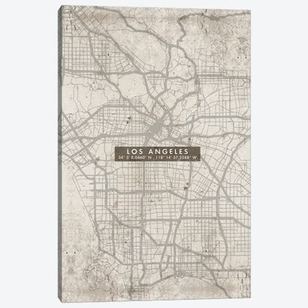 Los Angeles City Map Abstract Canvas Print #WDA215} by WallDecorAddict Canvas Print