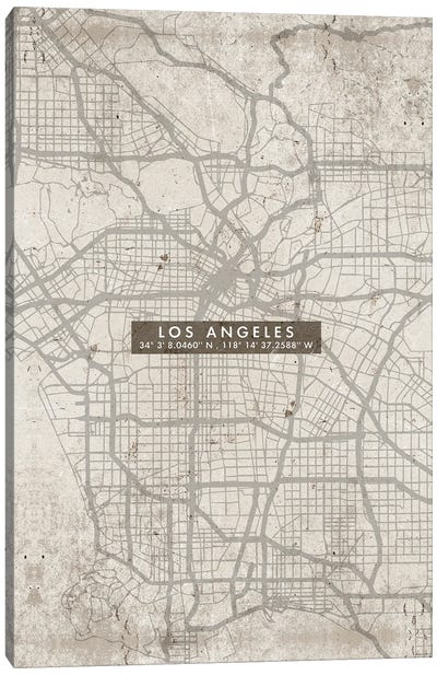 Los Angeles City Map Abstract Canvas Art Print