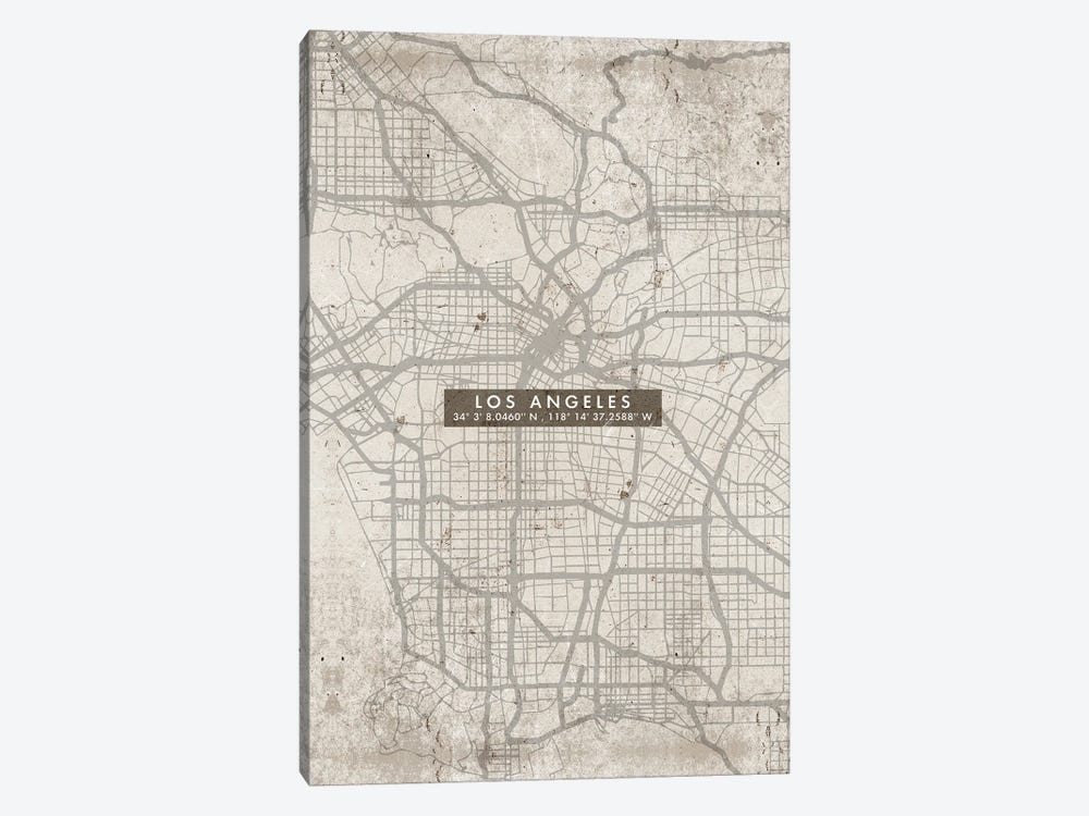 Los Angeles City Map Abstract by WallDecorAddict 1-piece Canvas Art