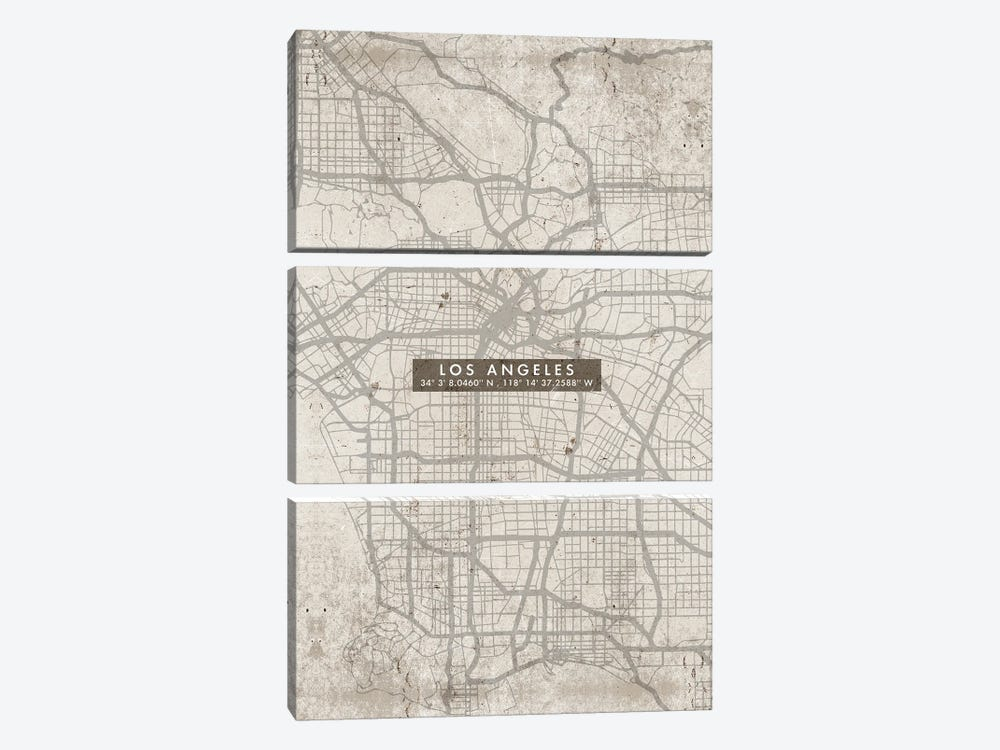 Los Angeles City Map Abstract by WallDecorAddict 3-piece Canvas Artwork