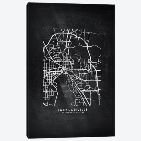 Jacksonville City Map Chalkboard Style Canvas Print #WDA2160} by WallDecorAddict Canvas Print