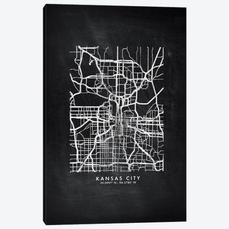 Kansas City Map Chalkboard Style Canvas Print #WDA2162} by WallDecorAddict Canvas Print