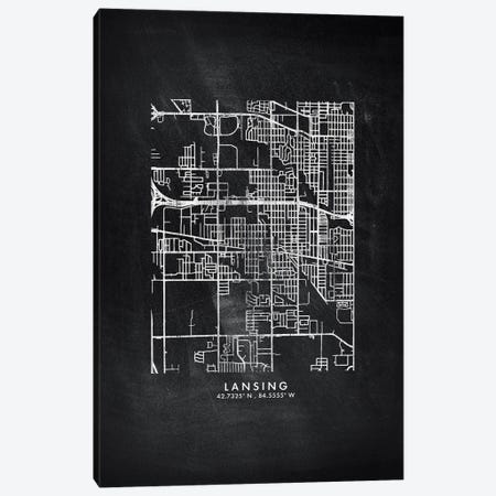 Lansing City Map Chalkboard Style Canvas Print #WDA2164} by WallDecorAddict Canvas Artwork