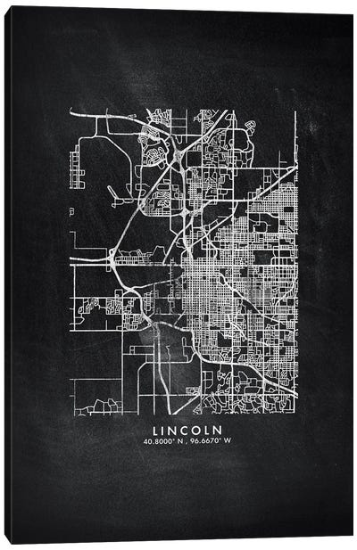 Lincoln City Map Chalkboard Style Canvas Art Print