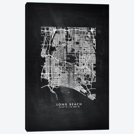 Long Beach City Map Chalkboard Style Canvas Print #WDA2169} by WallDecorAddict Canvas Art Print