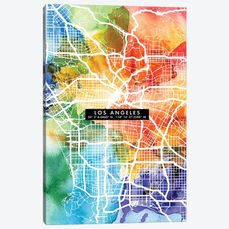 Los Angeles City Map Colorful Canvas Print #WDA216} by WallDecorAddict Art Print