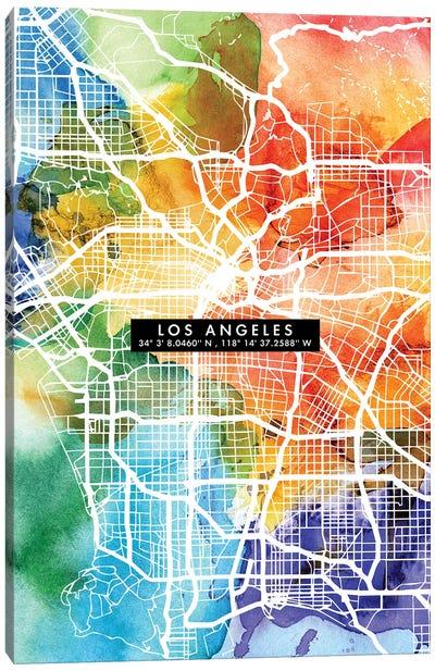 Los Angeles City Map Colorful Canvas Art Print