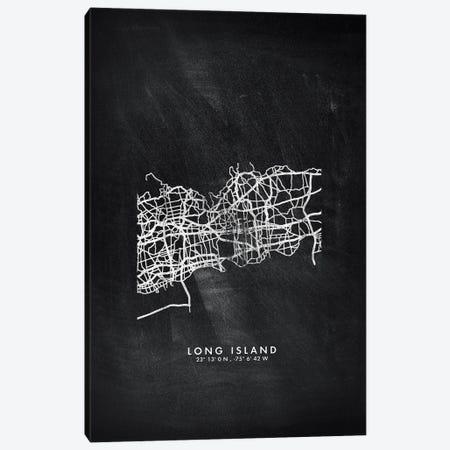 Long Island City Map Chalkboard Style Canvas Print #WDA2170} by WallDecorAddict Canvas Art