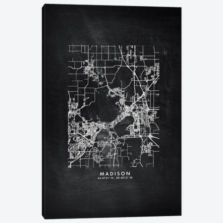Madison City Map Chalkboard Style Canvas Print #WDA2172} by WallDecorAddict Canvas Art