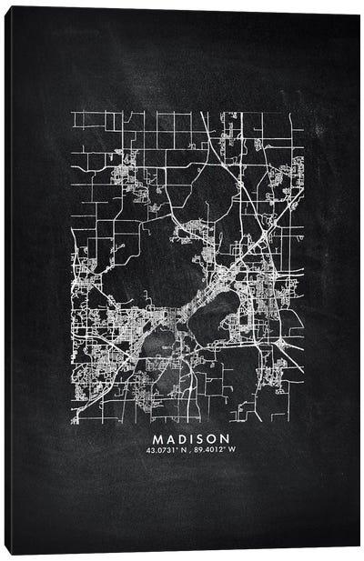 Madison City Map Chalkboard Style Canvas Art Print