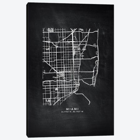 Miami City Map Chalkboard Style Canvas Print #WDA2175} by WallDecorAddict Art Print