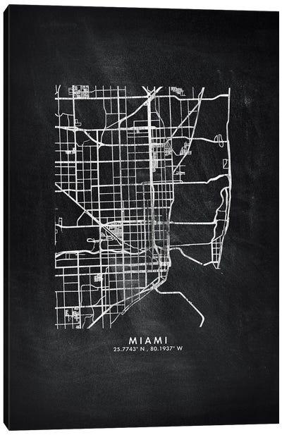 Miami City Map Chalkboard Style Canvas Art Print