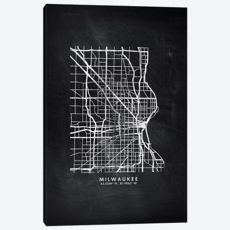Milwaukee City Map Chalkboard Style Canvas Print #WDA2176} by WallDecorAddict Canvas Print