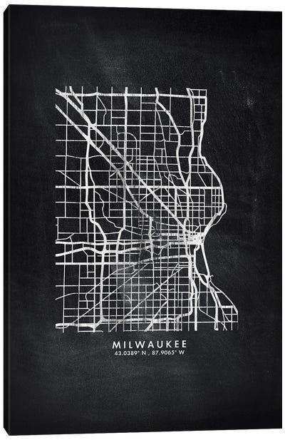 Milwaukee City Map Chalkboard Style Canvas Art Print