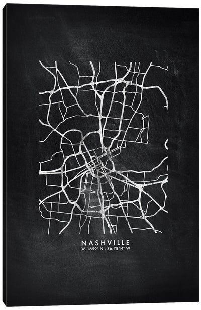 Nashville City Map Chalkboard Style Canvas Art Print
