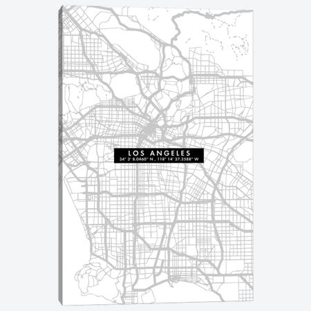 Los Angeles City Map Minimal Canvas Print #WDA217} by WallDecorAddict Canvas Art Print