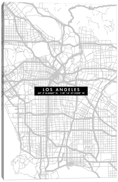 Los Angeles City Map Minimal Canvas Art Print