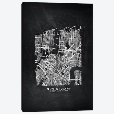 New Orleans City Map Chalkboard Style Canvas Print #WDA2180} by WallDecorAddict Canvas Art Print