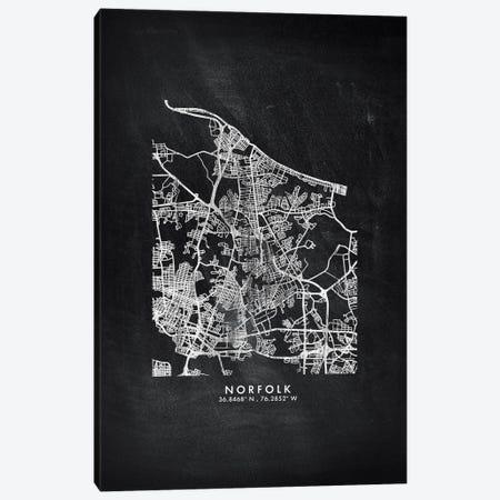 Norfolk City Map Chalkboard Style Canvas Print #WDA2182} by WallDecorAddict Canvas Art Print