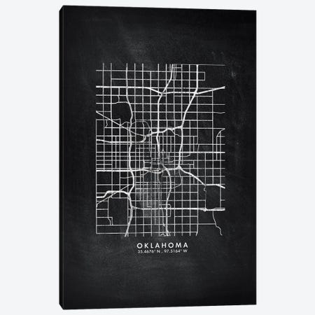 Oklahoma City Map Chalkboard Style Canvas Print #WDA2184} by WallDecorAddict Canvas Artwork