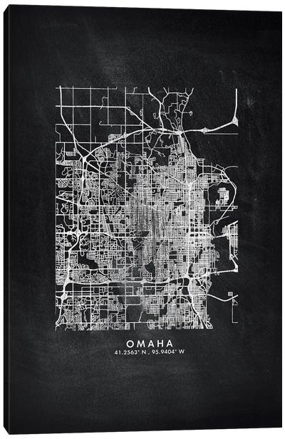 Omaha City Map Chalkboard Style Canvas Art Print