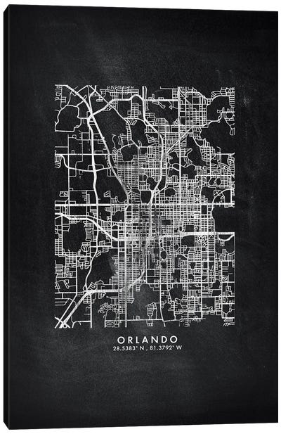 Orlando City Map Chalkboard Style Canvas Art Print