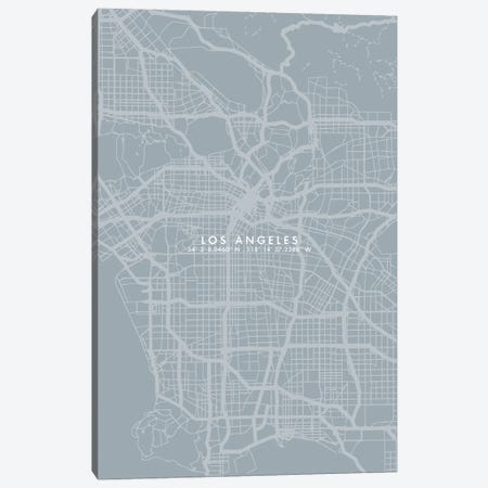 Los Angeles City Map Simple Color Canvas Print #WDA218} by WallDecorAddict Canvas Artwork