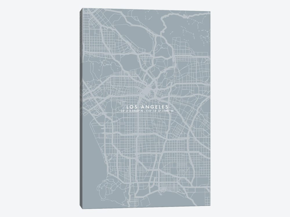 Los Angeles City Map Simple Color by WallDecorAddict 1-piece Canvas Print