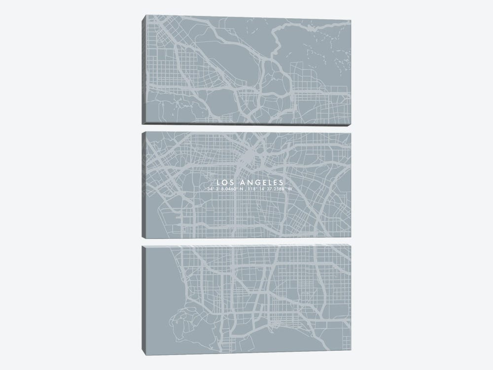Los Angeles City Map Simple Color by WallDecorAddict 3-piece Canvas Print