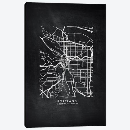 Portland City Map Chalkboard Style Canvas Print #WDA2190} by WallDecorAddict Canvas Wall Art