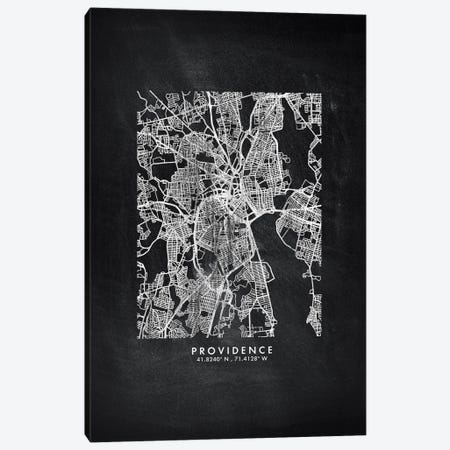 Providence City Map Chalkboard Style Canvas Print #WDA2192} by WallDecorAddict Canvas Art
