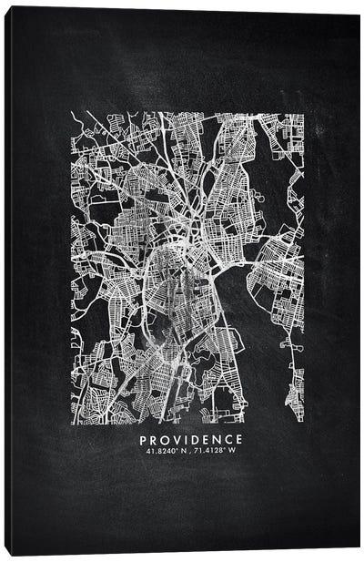 Providence City Map Chalkboard Style Canvas Art Print
