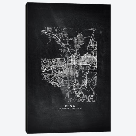 Reno, Nevada City Map Chalkboard Style Canvas Print #WDA2195} by WallDecorAddict Canvas Print