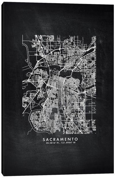 Sacramento City Map Chalkboard Style Canvas Art Print