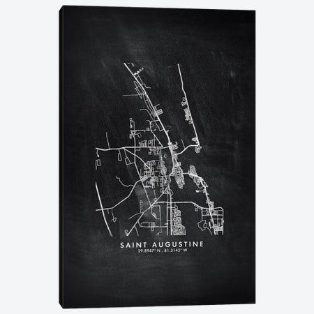 Saint Augustine City Map Chalkboard Style Canvas Print #WDA2198} by WallDecorAddict Canvas Artwork
